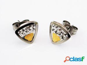 Pendientes triangulo de Acero con Oro y Circonitas