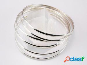 Pulsera Semanario Liso de Plata de Ley 3 Mm. 65