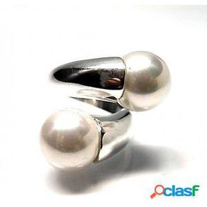 Sortija Perlas de 12 Mm. y Plata de ley