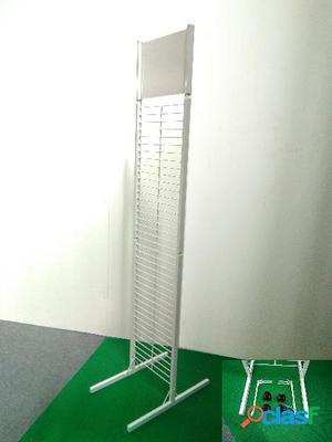 Expositor doble con 4 ruedas y 10 ganchos, color blanco