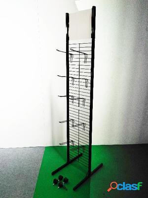 Expositor doble con 4 ruedas y 10 ganchos, color negro
