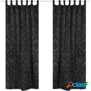 2 cortinas negras barrocas de tafetán con lengüetas, 140 x