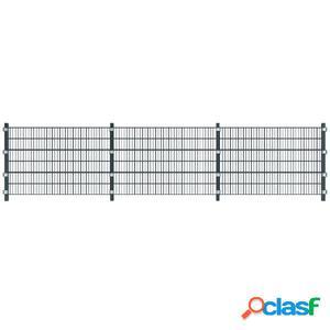 6 metros paneles de malla con postes, 1,2 metros, color gris