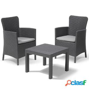 Allibert Set de muebles de jardín Salvador 3 pzas gris