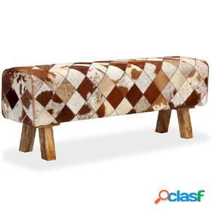 Banco de cuero de vaca auténtico estampado de rombos