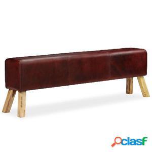 Banco de cuero genuino marrón 160x28x50 cm