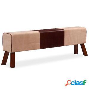 Banco de cuero real y lona beige y marrón 160x28x50 cm