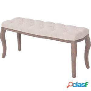 Banco de madera maciza y lino blanco crema 110x38x48 cm