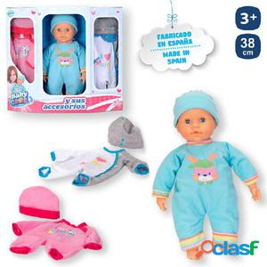 Bebé baby care + 2 vestidos 38cm