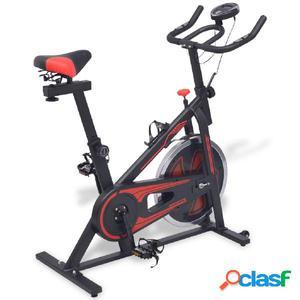 Bicicleta de spinning con sensores de pulso negra y roja