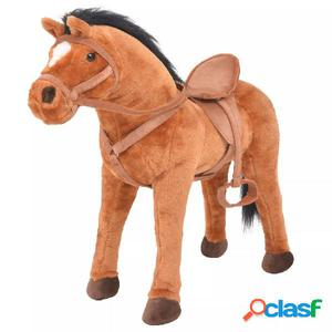 Caballo de pie de juguete felpa marrón