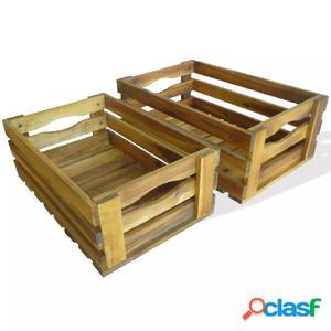 Caja de manzanas de jardín para plantar de madera de acacia