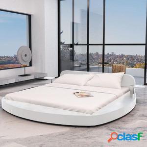 Cama con colchón 180x200 redonda cuero artificial blanca