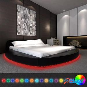 Cama con colchón 180x200 redonda cuero artificial negra