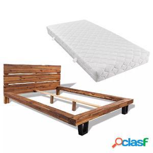 Cama con colchón de madera de acacia maciza 140x200 cm