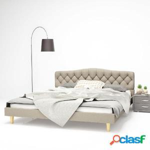 Cama con colchón viscoelástico 180x200 cm tela beige