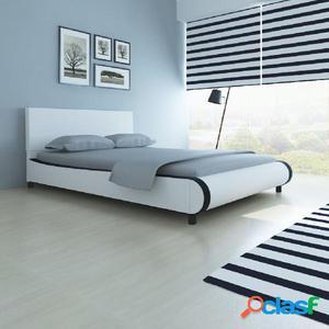 Cama con colchón viscoelástico cuero artificial blanca
