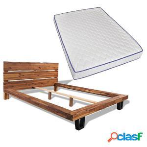 Cama con colchón viscoelástico de madera de acacia 140x200