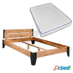 Cama con colchón viscoelástico madera acacia y acero