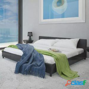Cama de cuero artificial negra con colchón 180x200 cm