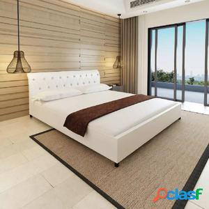 Cama doble con colchón viscoelástico metal blanca 180x200