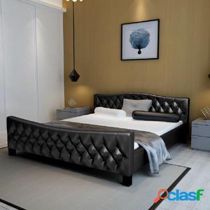 Cama doble con colchón viscoelástico negra 180x200 cm