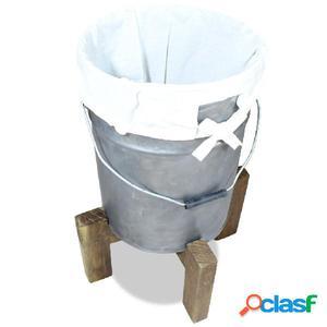 Cesto de ropa hierro galvanizado y madera reciclada 30x30x58