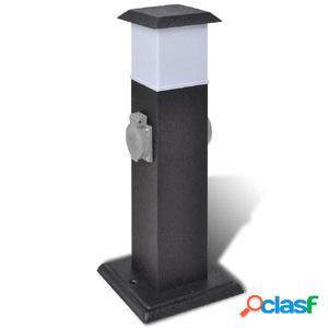 Columna con enchufes y lámpara para el jardín negra