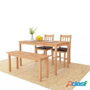 Conjunto de comedor 4 piezas madera maciza de roble