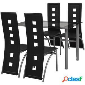 Conjunto de comedor de cinco piezas negro