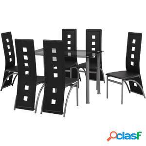 Conjunto de comedor de siete piezas negro