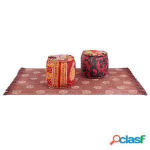 Conjunto de esterilla y puf 3 piezas de tela patchwork