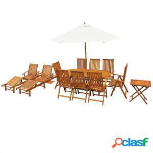 Conjunto de muebles de jardín 13 piezas madera maciza de