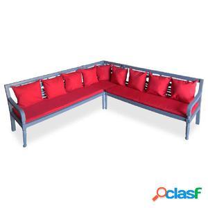 Conjunto de sofá exterior madera maciza de acacia 15 piezas