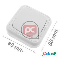 Conmutador de superficie con marco 80x80mm de color blanco
