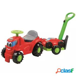 Ecoiffier Tractor correpasillos con remolque y cortacésped