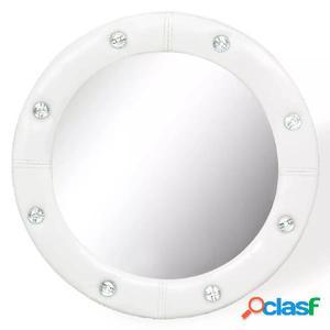 Espejo de pared de cuero artificial blanco brillante 40 cm