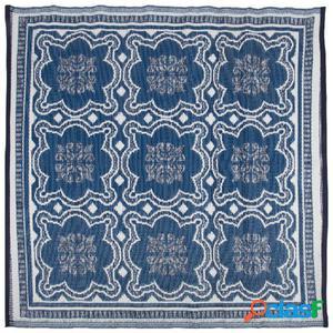 Esschert Design Alfombra de exterior 151,5 cm blanco y azul