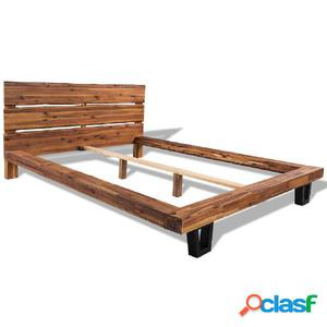 Estructura de cama de madera maciza de acacia 140x200 cm