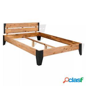 Estructura de cama de madera maciza de acacia y acero