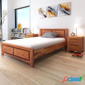 Estructura de cama madera maciza de acacia marrón 140x200