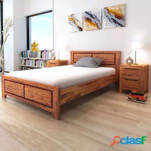 Estructura de cama y colchón 140x200cm madera de acacia