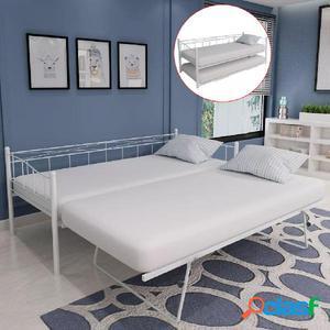 Estructura de sofá cama 180x200/90x200 cm acero blanco