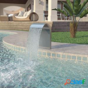 Fuente de piscina de acero inoxidable 45x30x65 cm plateada