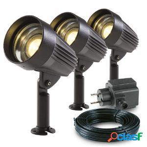 Garden Lights Focos LED de jardín Corvus 3 uds aluminio