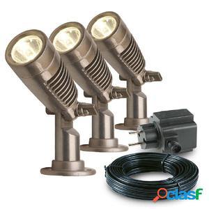 Garden Lights Focos LED de jardín Minus 3 uds aluminio