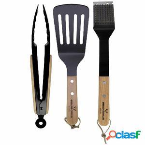 Gusta Set de accesorios de barbacoa 3 piezas madera y metal