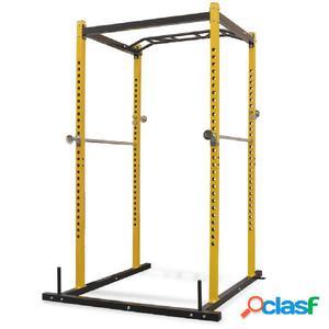 Jaula de musculación 140x145x214 cm amarillo y negro