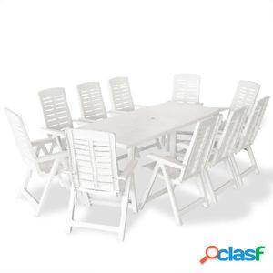 Juego de comedor de jardín 11 piezas 210x96x72 cm blanco