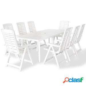 Juego de comedor de jardín 9 piezas 210x96x72 cm blanco